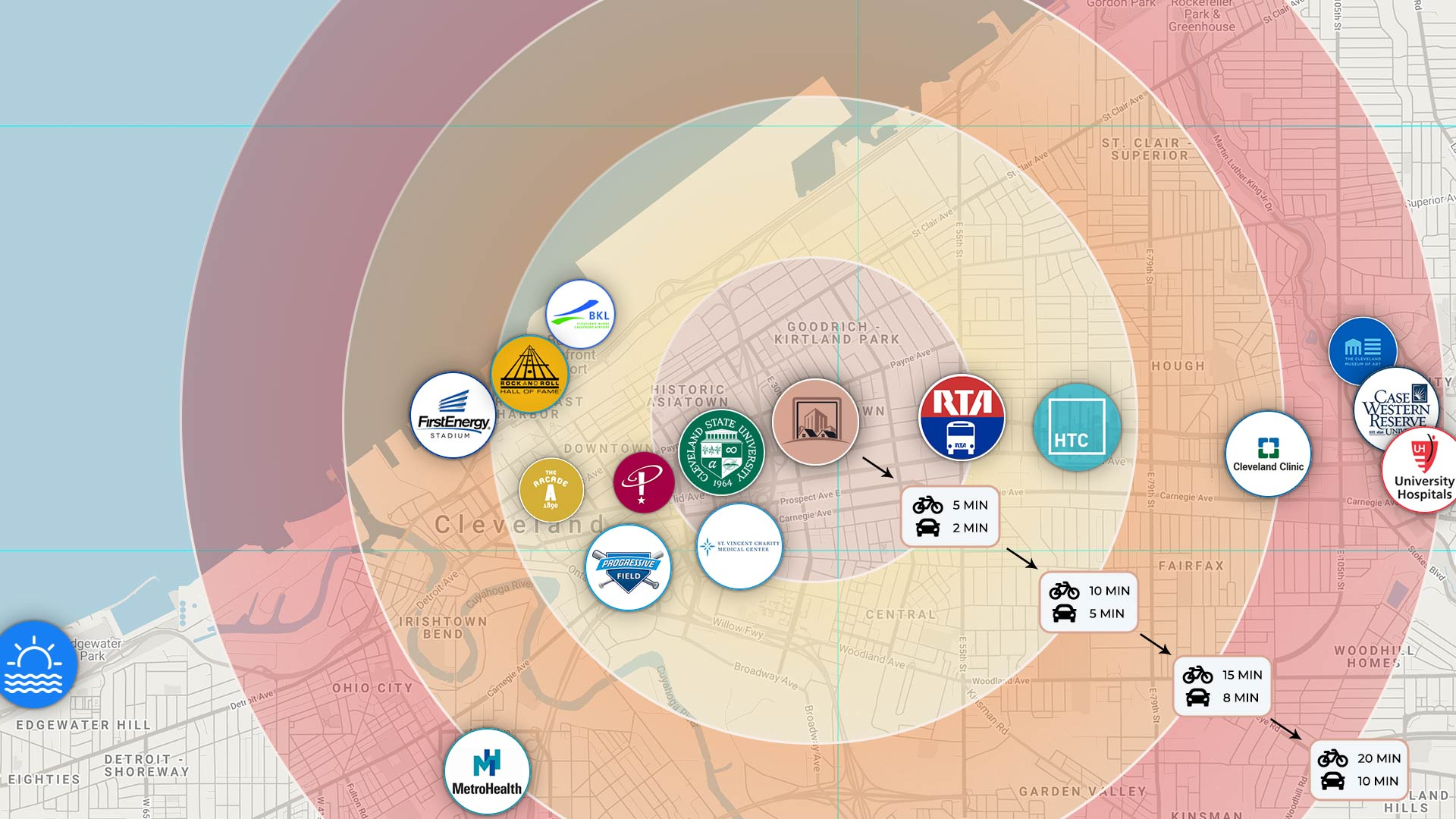 map of popular downtown Cleveland destinations and attractions